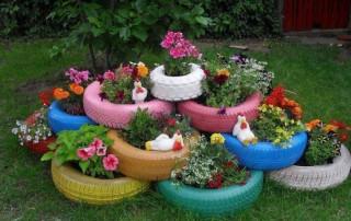 neumáticos para hacer macetas de jardín